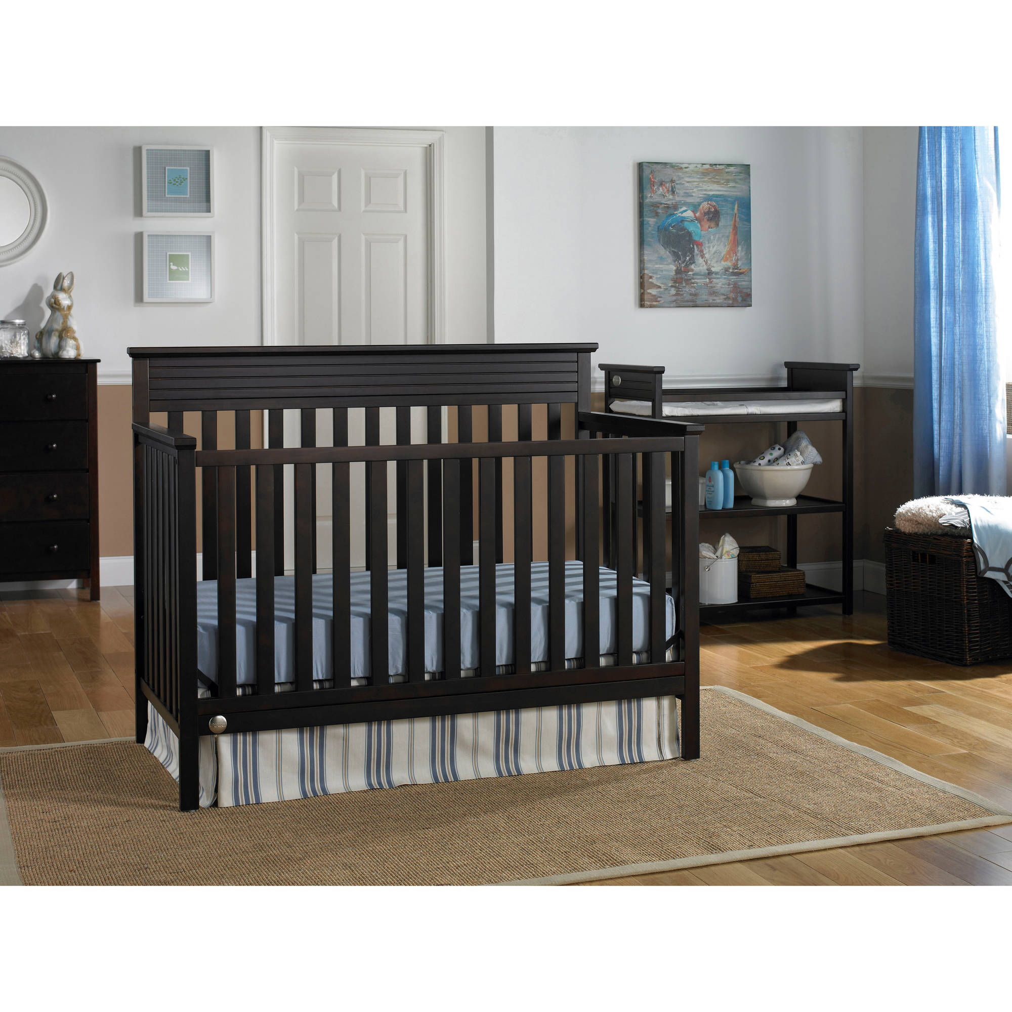 Fisher-Price Newbury 4-in-1 Convertible Crib Collection, Espresso