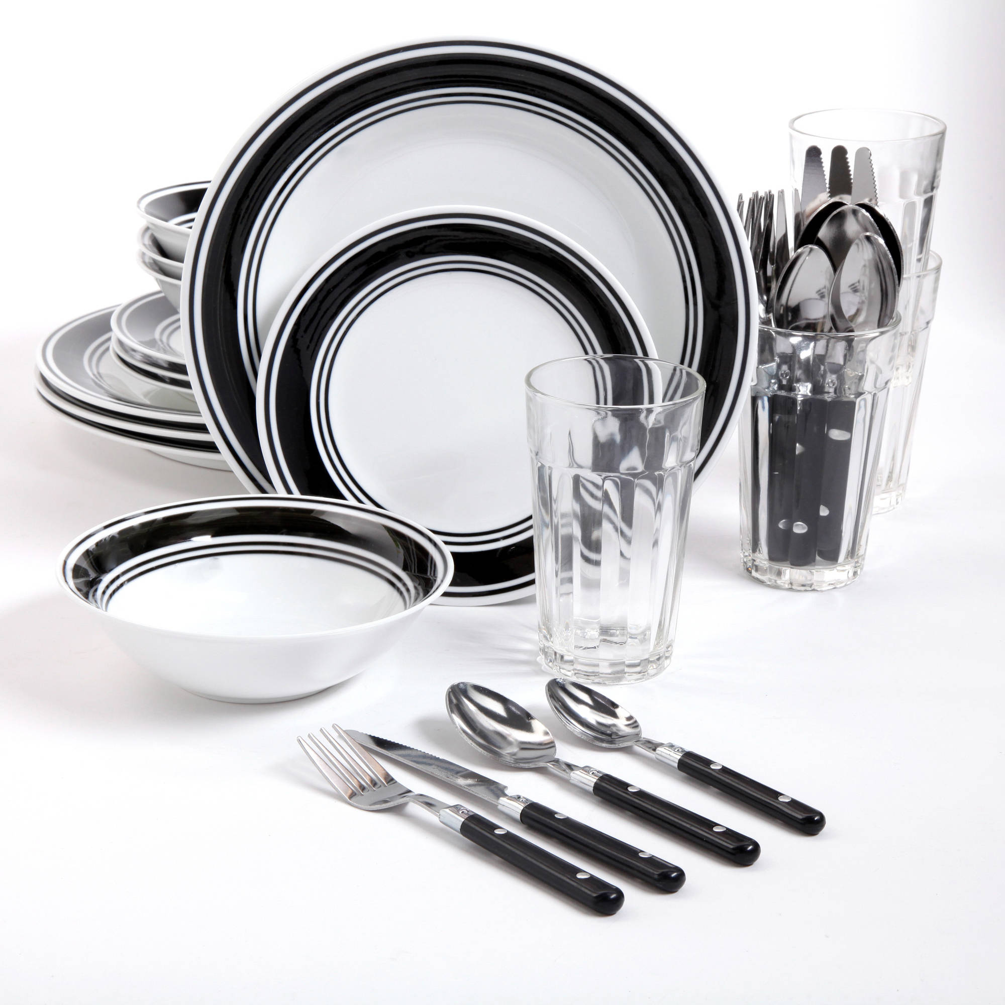 Gibson Home Basic Living 32-Piece Banded Combo Dinnerware Set