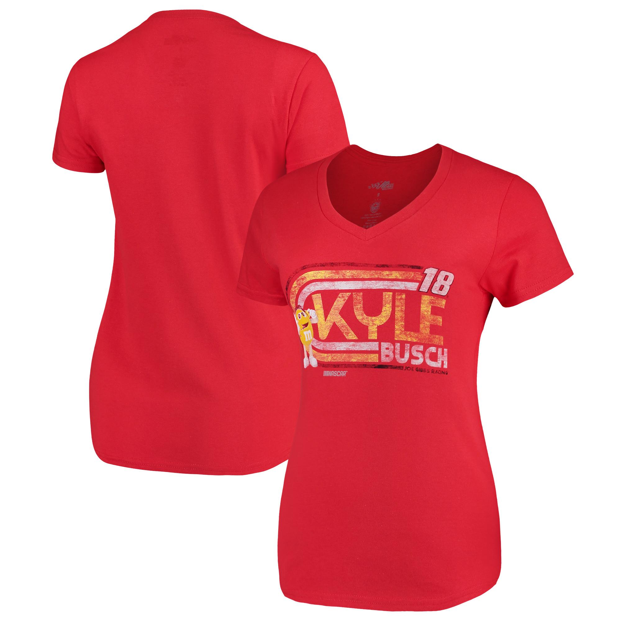 Kyle Busch Checkered Flag Women's Retro V-Neck T-Shirt - Red