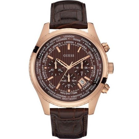 Guess U0500G3 Men's Rose Gold Tone Luscious Brown Leather Band Chronograph Watch