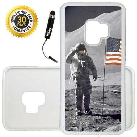 Custom Galaxy S9 Case (NASA Moon Landing) Edge-to-Edge Rubber White Cover Ultra Slim | Lightweight | Includes Stylus Pen by Innosub