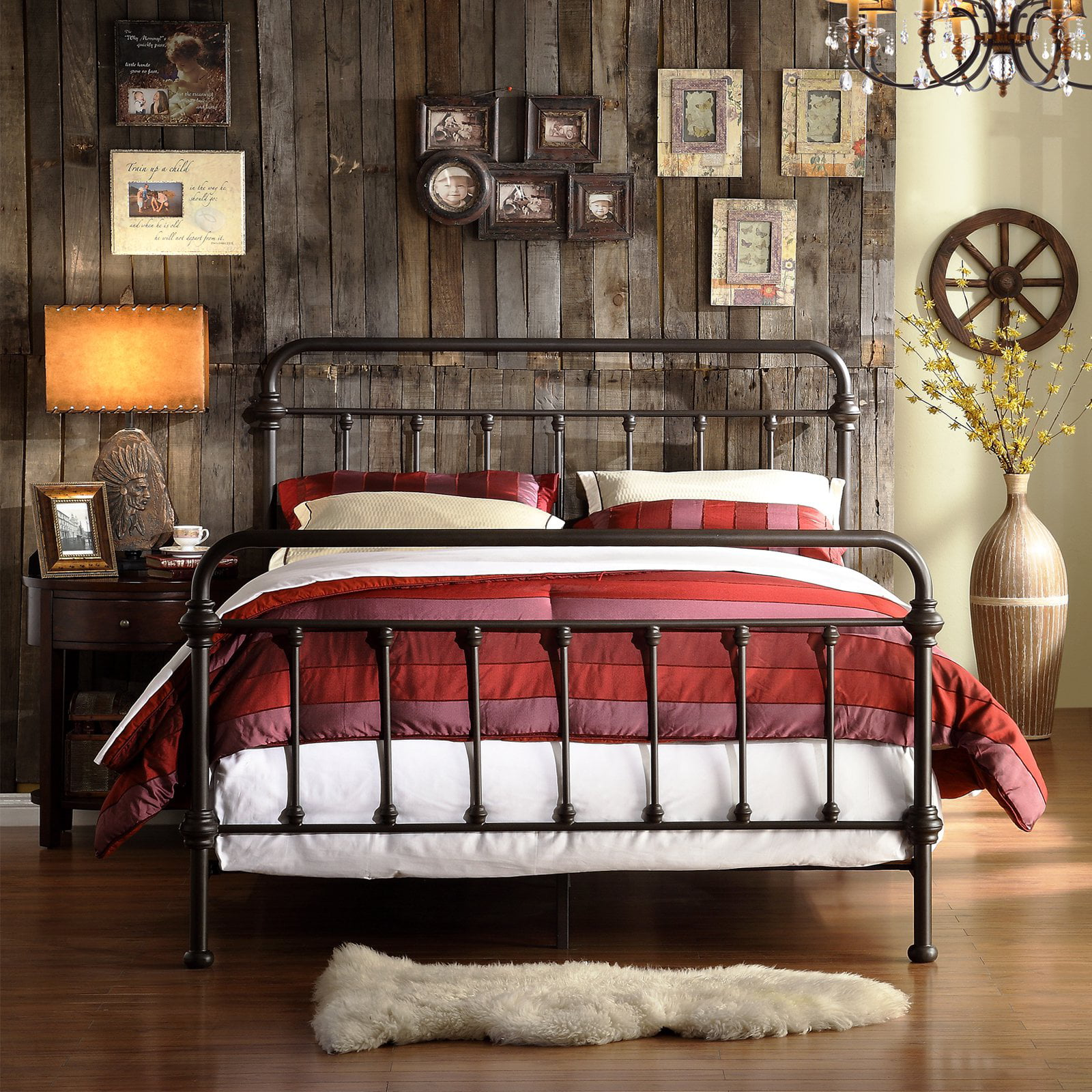 Weston Home Nottingham Metal Queen Bed Antique Dark Bronze Walmart Com Walmart Com