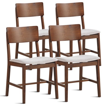 Gymax Set of 4 Mid Century Modern Dining Side Chairs Fabric Upholstered Seat Wood