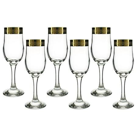 (D) Set of 6 'Fleur De Lis' Champagne Glasses, Luxury Vintage