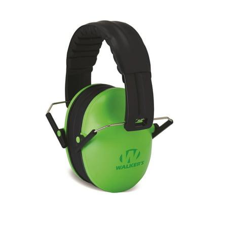 WALKERS GAME EAR PASSIVE BABY KIDS FOLDING EARMUFF 23 DB GREEN