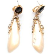 De Buman  14k Gold Plated Mother of Pearl Shell and Crystal Earrings