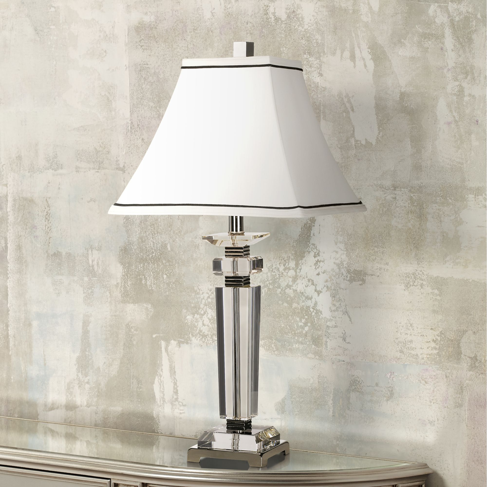 Vienna Full Spectrum Modern Table Lamp Crystal Column Flared Bell White Shade for Living Room Family Bedroom Bedside Nightstand