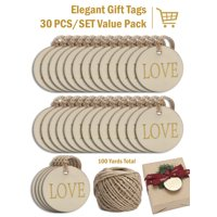 LaRibbons 30Pcs Wooden Gift Tags with Holes and 100ft Jute Twine for Gifts Wrapping Decoration,Chrismas Ornaments - Round Shape