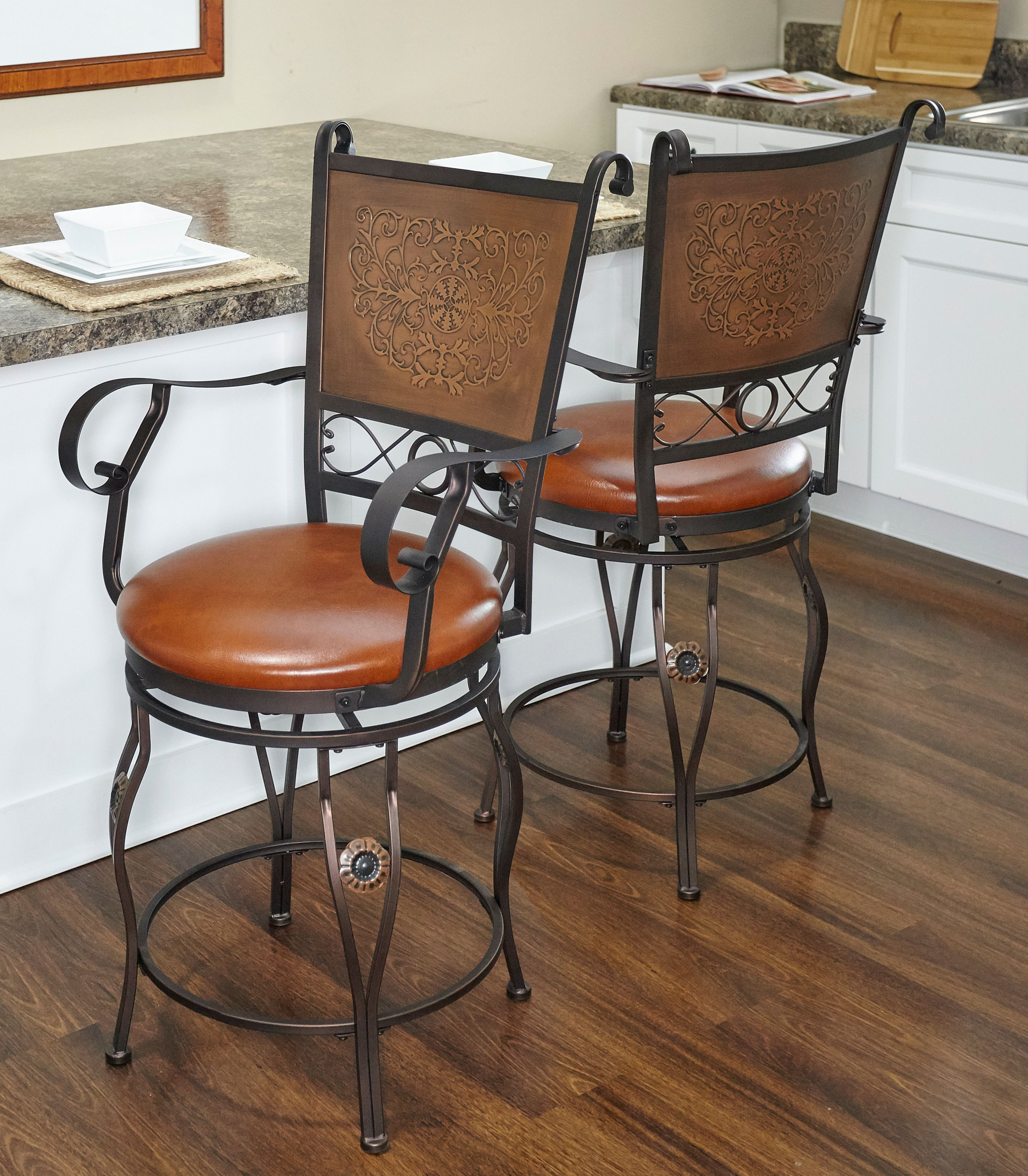 Image of: Powell Big Tall Copper Stamped Back Counter Stool With Arms Bronze Walmart Com Walmart Com