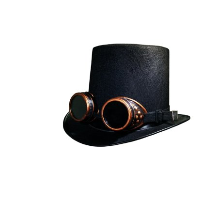 DLX Black Steampunk Top Hat Colored Goggles Smoked Eyewear Industrial Aviator](Aviator Goggles And Hat)