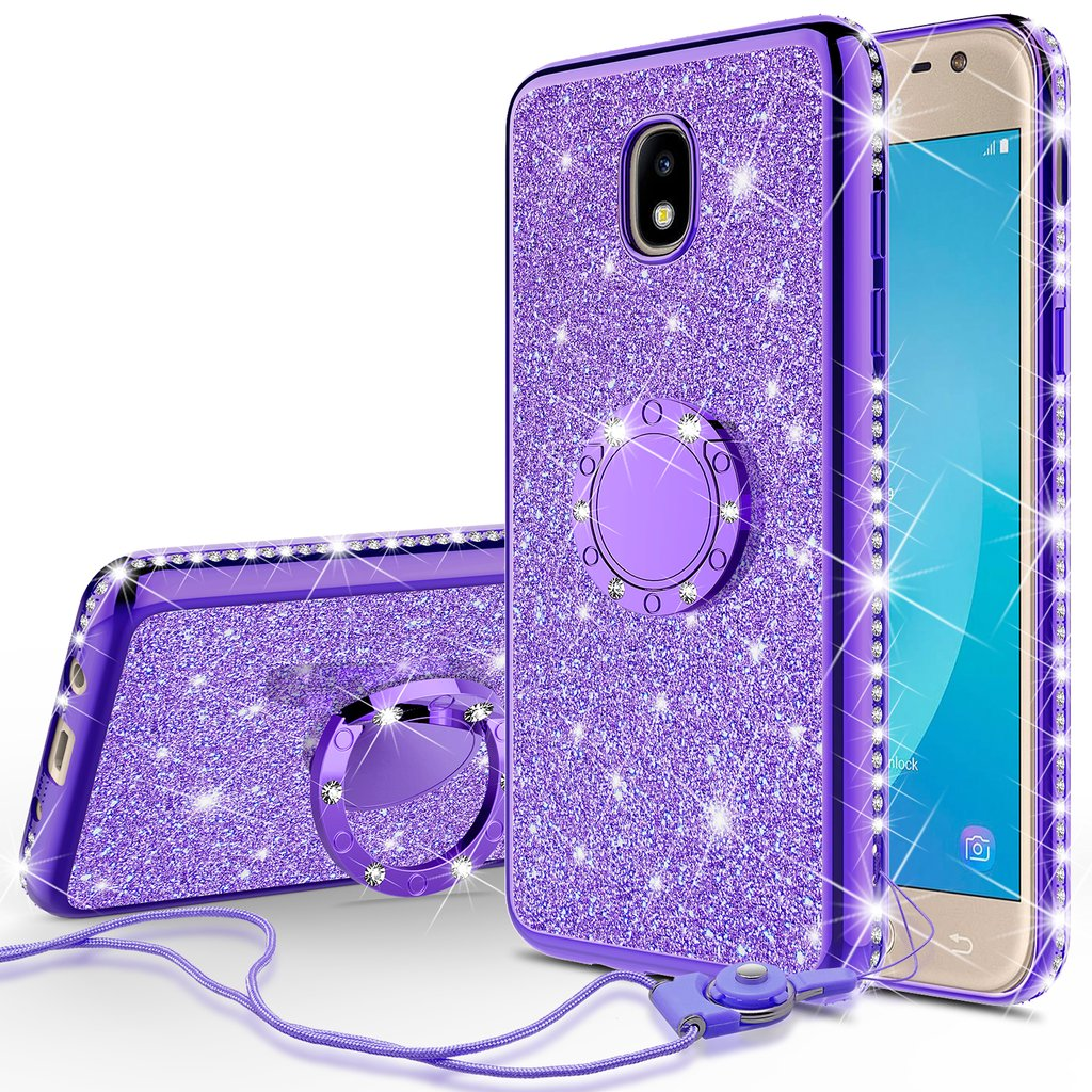 Samsung Galaxy J3 2018,Galaxy J3 Star, Express Prime 3,Amp Prime 3 Case,Cute Glitter Bling Diamond Bumper Ring Stand Phone Case Kickstand,Sparkly Clear Thin Soft Case for Girls Women - Purple