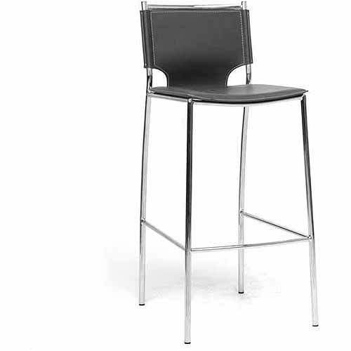 Wholesale Interiors Montclare Leather Modern Bar-Height Stool, Set of 2, Black
