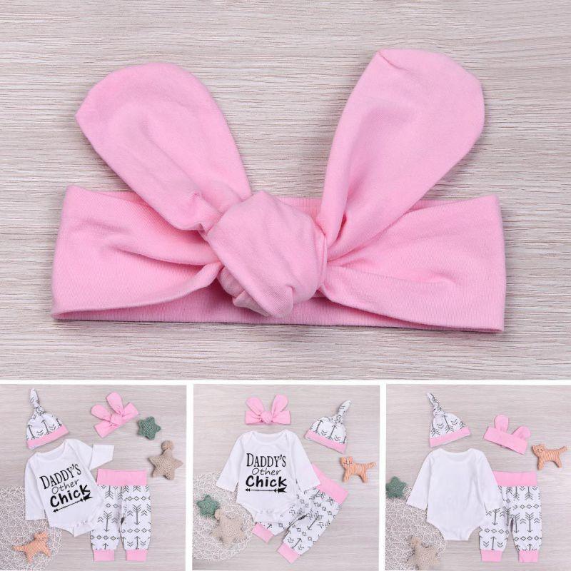 BOBORA 4PCS Summer Newborn Baby Outfit Tops+Pants Set
