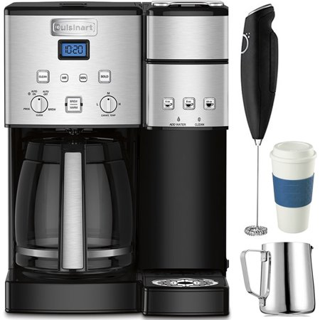 Electric With Timer Coffee Maker - Cuisinart 12-Cup Coffee Maker and Single-Serve Brewer Stainless Steel (SS-15) with Milk Frother - Handheld Electric Foam Maker For Coffee, Milk Frothing Pitcher & Reusable To Go Mug Blue