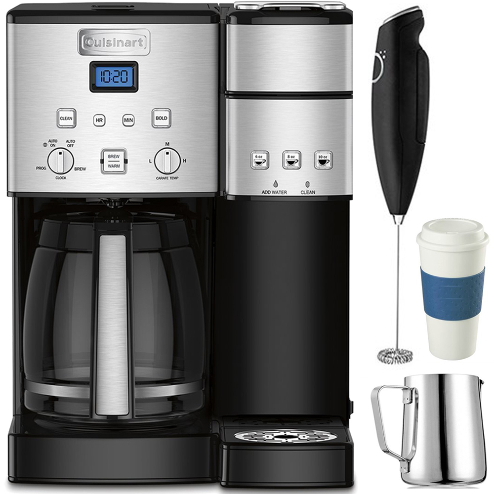 Cuisinart 12-Cup Coffee Maker and Single-Serve Brewer Stainless Steel (SS-15) with Milk Frother - Handheld Electric Foam Maker For Coffee, Milk Frothing Pitcher & Reusable To Go Mug Blue