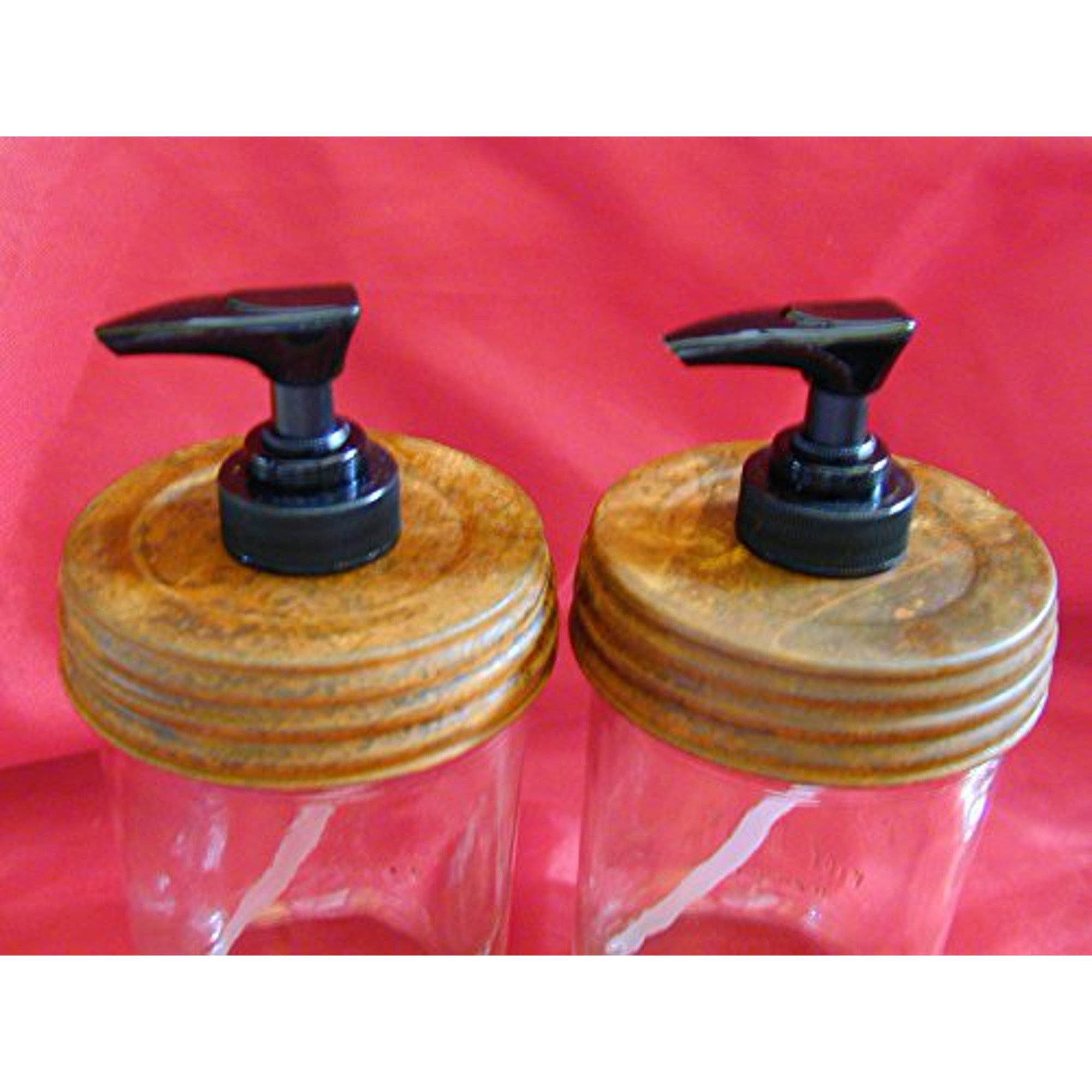 Wide Mouth Rusty Lid Double Black Pump Mason Jar Lotion Soap Dispenser