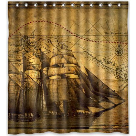GreenDecor Vintage Sailing Pirate Ship Waterproof Shower Curtain Set with Hooks Bathroom Accessories Size 66x72 inches](Pirate Bathroom Accessories)
