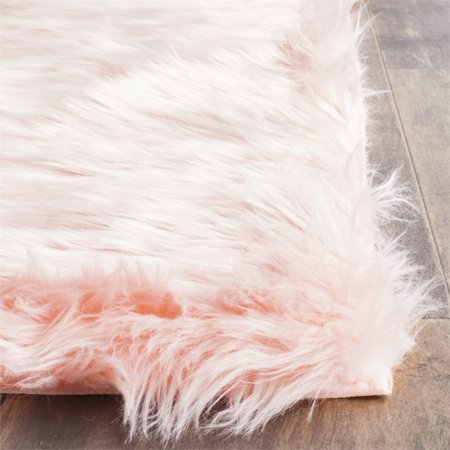 Safavieh Faux Sheep Skin 3' X 5' Power Loomed Acrylic Rug in Pink - image 1 of 3