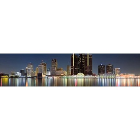 Buildings in a city lit up at night Detroit River Detroit Michigan USA Poster Print](Detroit Night Before Halloween)