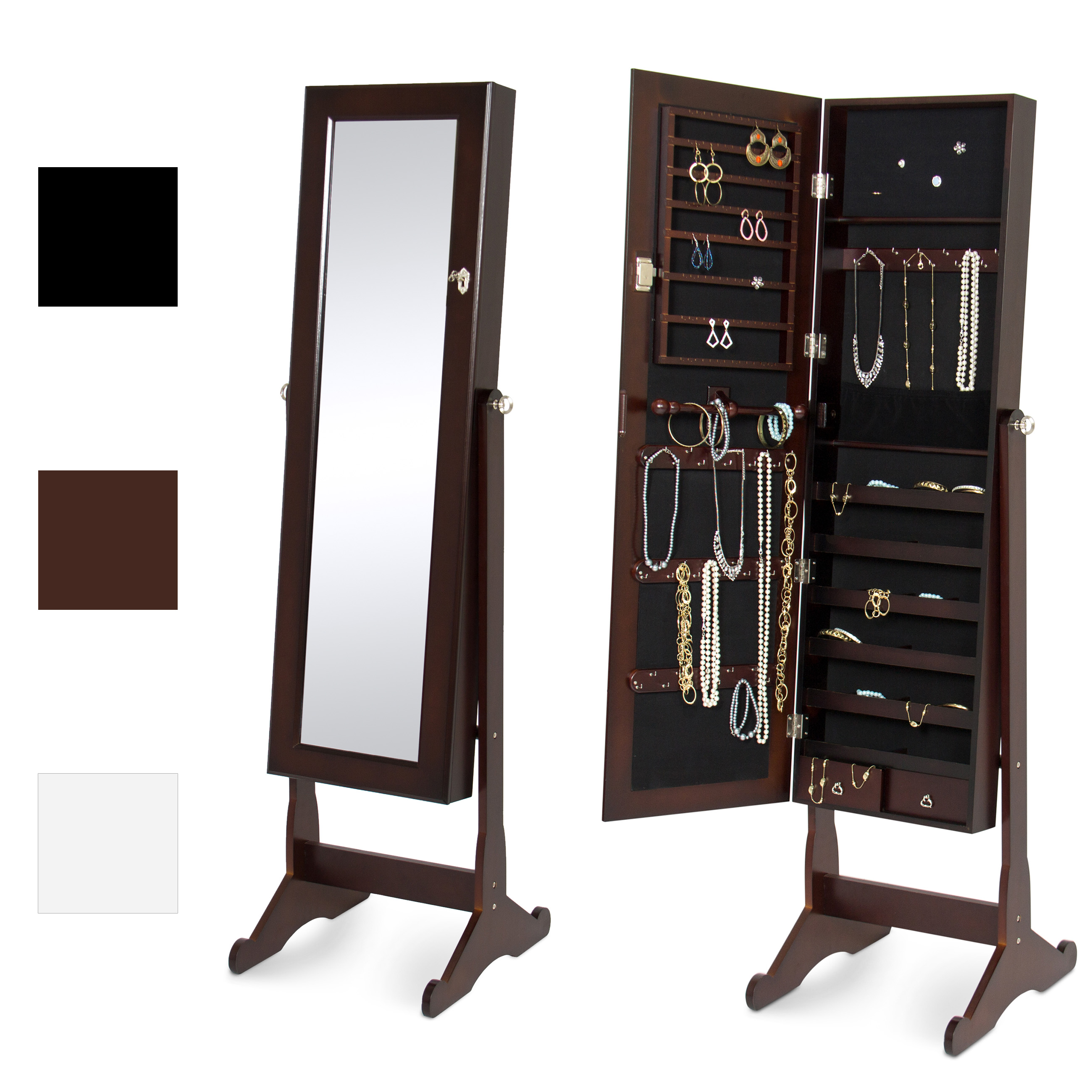 Best Choice Products Mirrored Jewelry Cabinet Armoire W  Stand Rings, Necklaces, Bracelets Brown by Best Choice Products