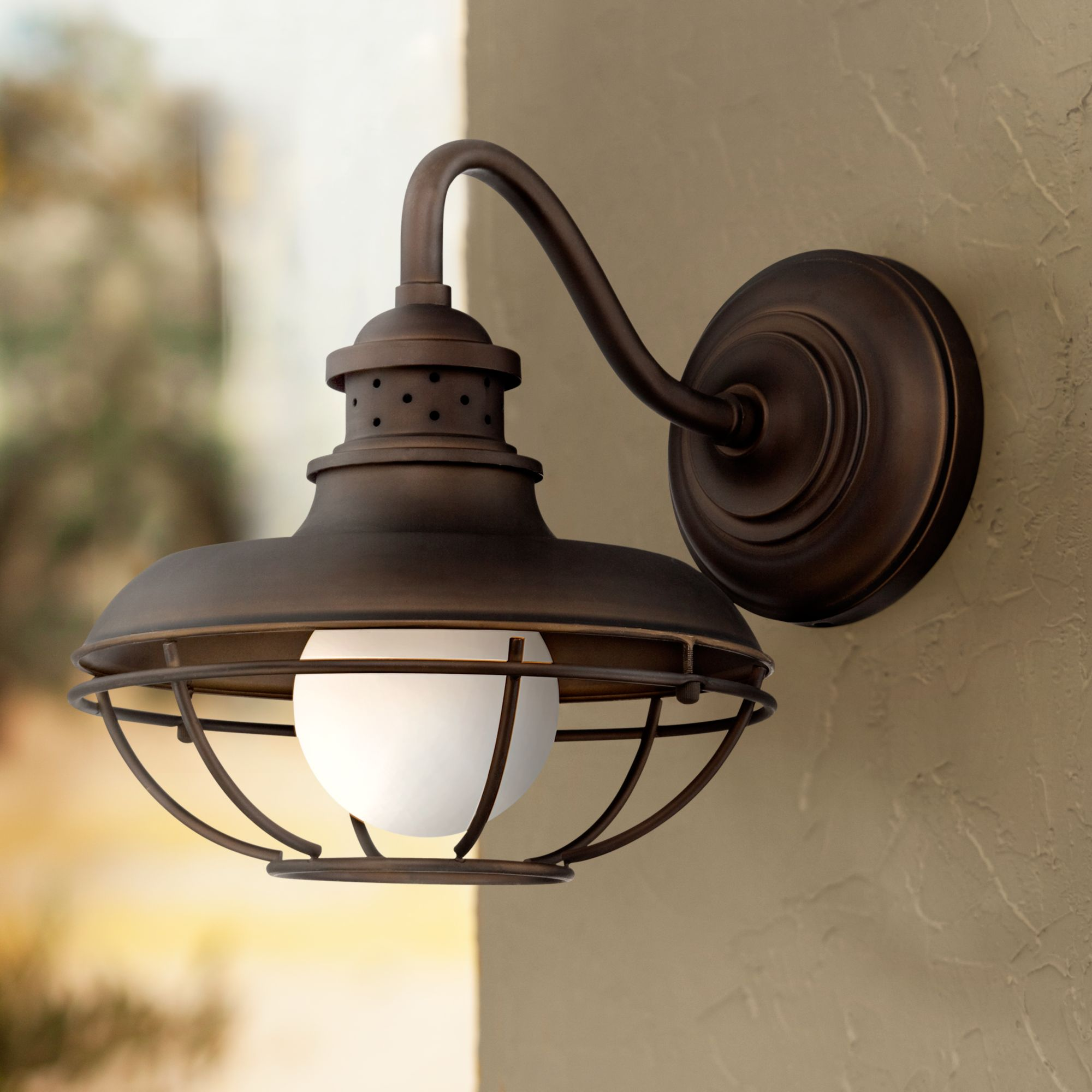 """Franklin Iron Works Franklin Park 13"""" High Bronze Metal Cage Outdoor Wall Light"""