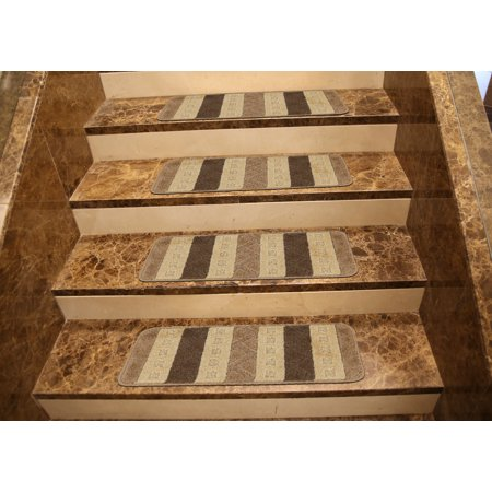 - Ottomanson Softy Brown and Oyster Gray Striped Design Set of 7 Skid Resistant Rubber Backing Non Slip (9