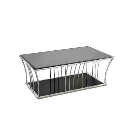 Furniture of america lethe glass top coffee table in black and chrome Black and chrome coffee table