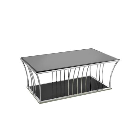 Furniture Of America Lethe Glass Top Coffee Table In Black And Chrome