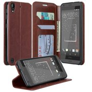 HTC Desire 530 Case, Pu Leather Magnetic Flip Fold[Kickstand] Wallet Case with ID & Card Slots for Desire 530 - Brown