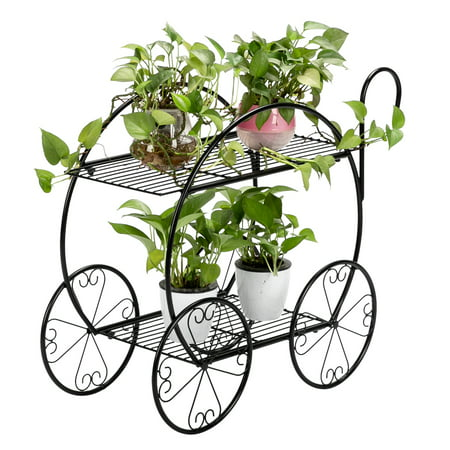 Image of Clearance! Indoor Plant Stand Holder, With Handle Cart Shape Metal Plant Stand, Iron Art Flower Pot Holder, Corner Plant Stand Display, Home, Garden, Patio, Outdoor Plant Stand, Black, W8167