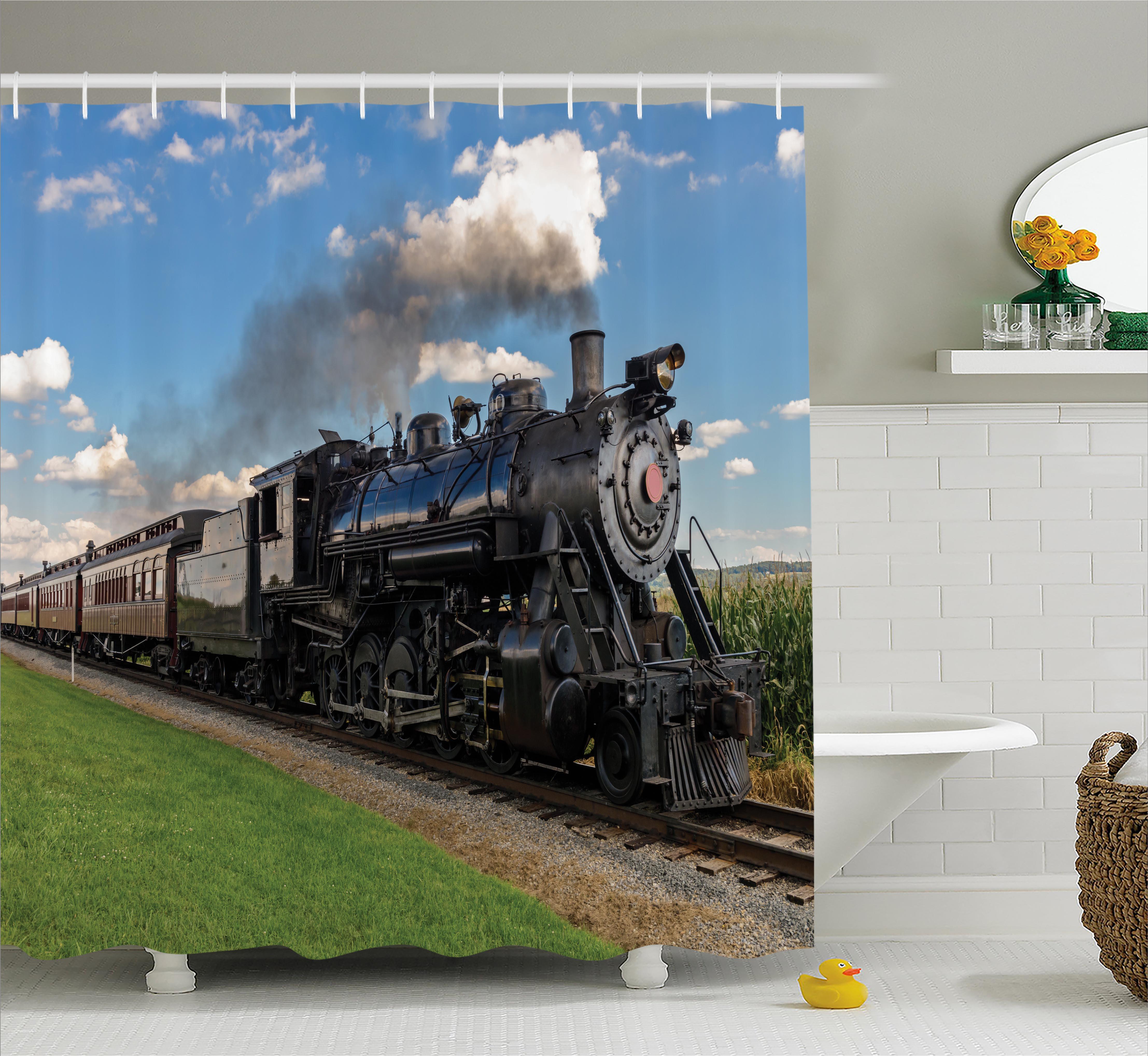 Steam Engine Shower Curtain, Vintage Locomotive in Countr...