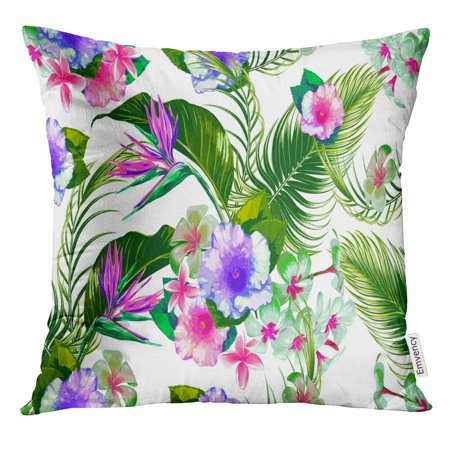 STOAG Beautiful Floral Spring Summer with Tropical Flowers Palm Leaves Jungle Leaf Hibiscus Bird of Paradise Throw Pillowcase Cushion Case Cover 16x16 inch ()