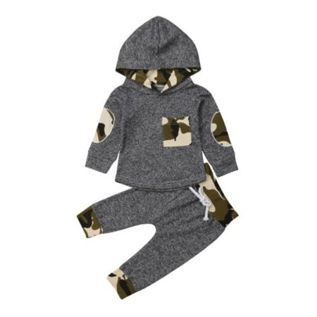 2PCS Newborn Baby Boy Camouflage Hooded Tops Long Pants Winter Outfit Clothes thumbnail