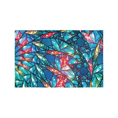MKHERT Modern Colorful Glowing Stained Glass Abstract Background Placemats Table Mats for Dining Room Kitchen Table Decoration 12x18 inch,Set of 4 - Glowing Glass