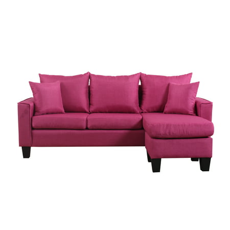 Modern Linen Fabric Small E Sectional Sofa With Reversible Chaise