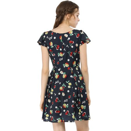 Women鈥榮 Fruit Print Sweetheart Neckline Cap Sleeves Dress Dark Blue L - image 4 de 6