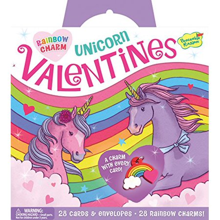 Peaceable Kingdom Rainbow Unicorn 28 Card Super Valentine Pack with Real Charm Keepsakes - Unicorn Valentine