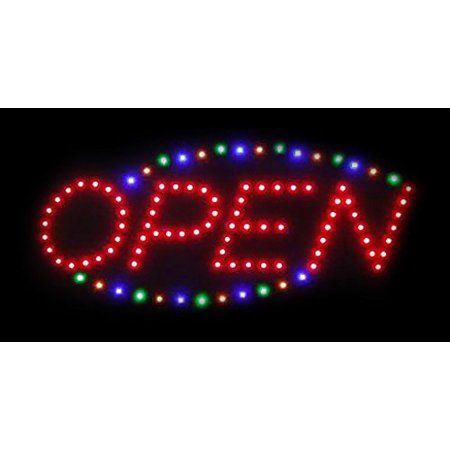 2xhome - Open RGB Sign - Large Letters High Visible Bright Colors Led Animated Flashing Sign Motion Light Chain 19x10 for Business Drink Restaurant Diner Cafe Bar Coffee Shop Store Wall Window Display
