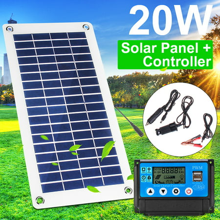 20W 12V/5V Semi Flexible Solar Panel Charger Portable Controlle Polysilicon Off Grid Kit Waterproof For Car Battery Phone RV Outdoor+ (Automatic Top Off System Water Level Controller)