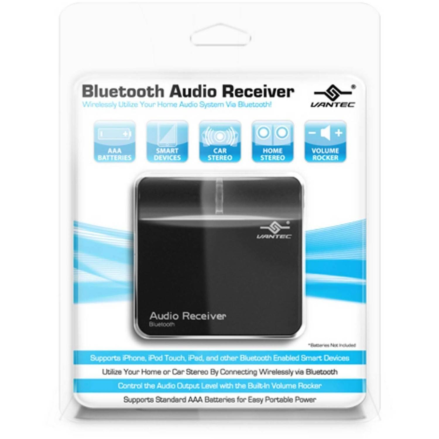 Vantec NBA-BTA350-BK Bluetooth Audio Receiver, Black