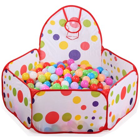 Baby Ball Pits (TrendBox 200 Ocean Balls + 1M Collapsible Ocean Ball Basketball Tent Play Pit House Foldable For Baby Children Kids Creativity (Ship From)