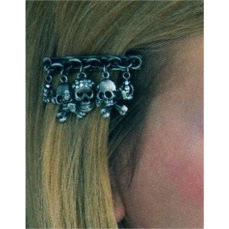 Gothic Pirate Accessory Dangling Skulls Metallic Pewter Hair Clip - S-curl Hair