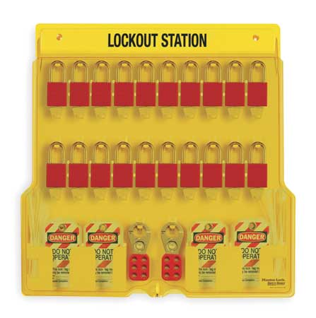 MASTER LOCK 1484BP1106 Lockout Station, Filled, 20 Padlocks