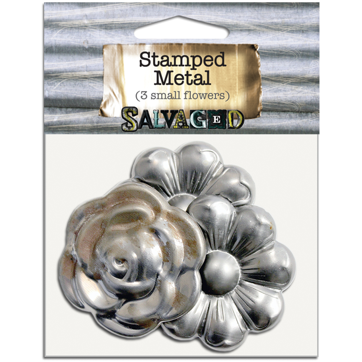 Salvaged Tin Metal Shapes 3/Pkg-Flowers
