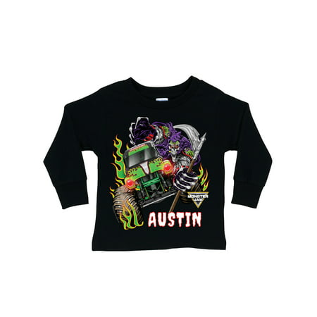 Personalized Monster Jam Grave Digger Long Sleeve Tee, Toddler, Black, 2T, 3T, 4T, 5/6T - Grave Digger Halloween