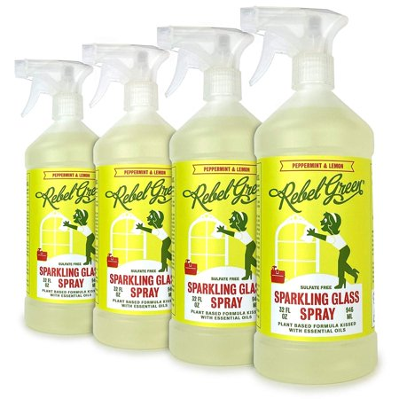 Rebel Green Sparkling Glass Cleaner, Eco Friendly Natural Streak Free Glass and Surface Spray - Peppermint & Lemon Scented, 32 Ounce Bottle, Pack of 4 Winning Streak Green