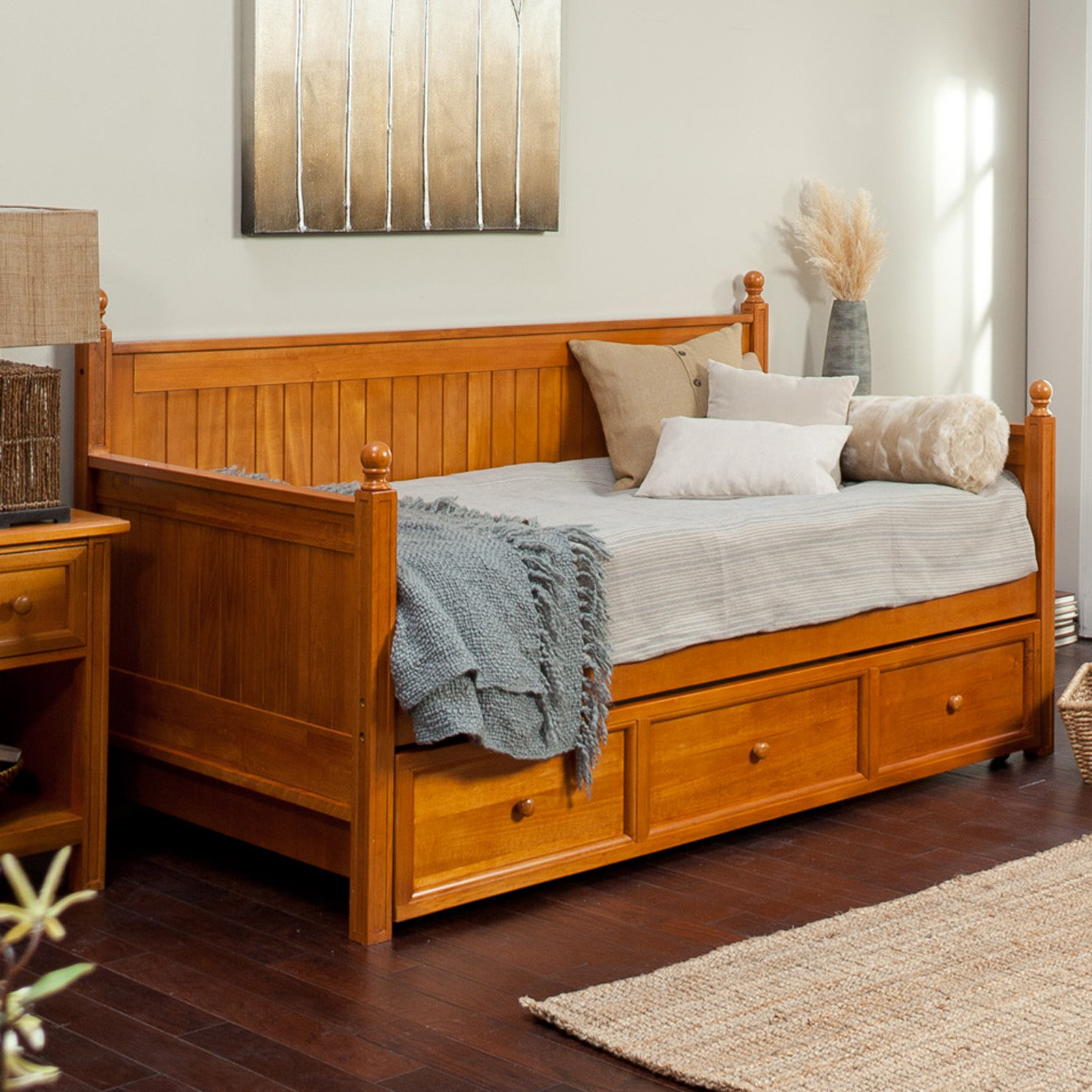Leggett & Platt Fashion Bed Group Casey Twin Daybed Trundle Bed, Honey Maple