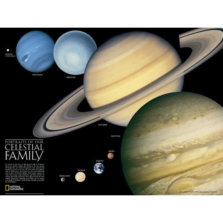 National Geographic Maps The Solar System  Poster Map  Two Sided