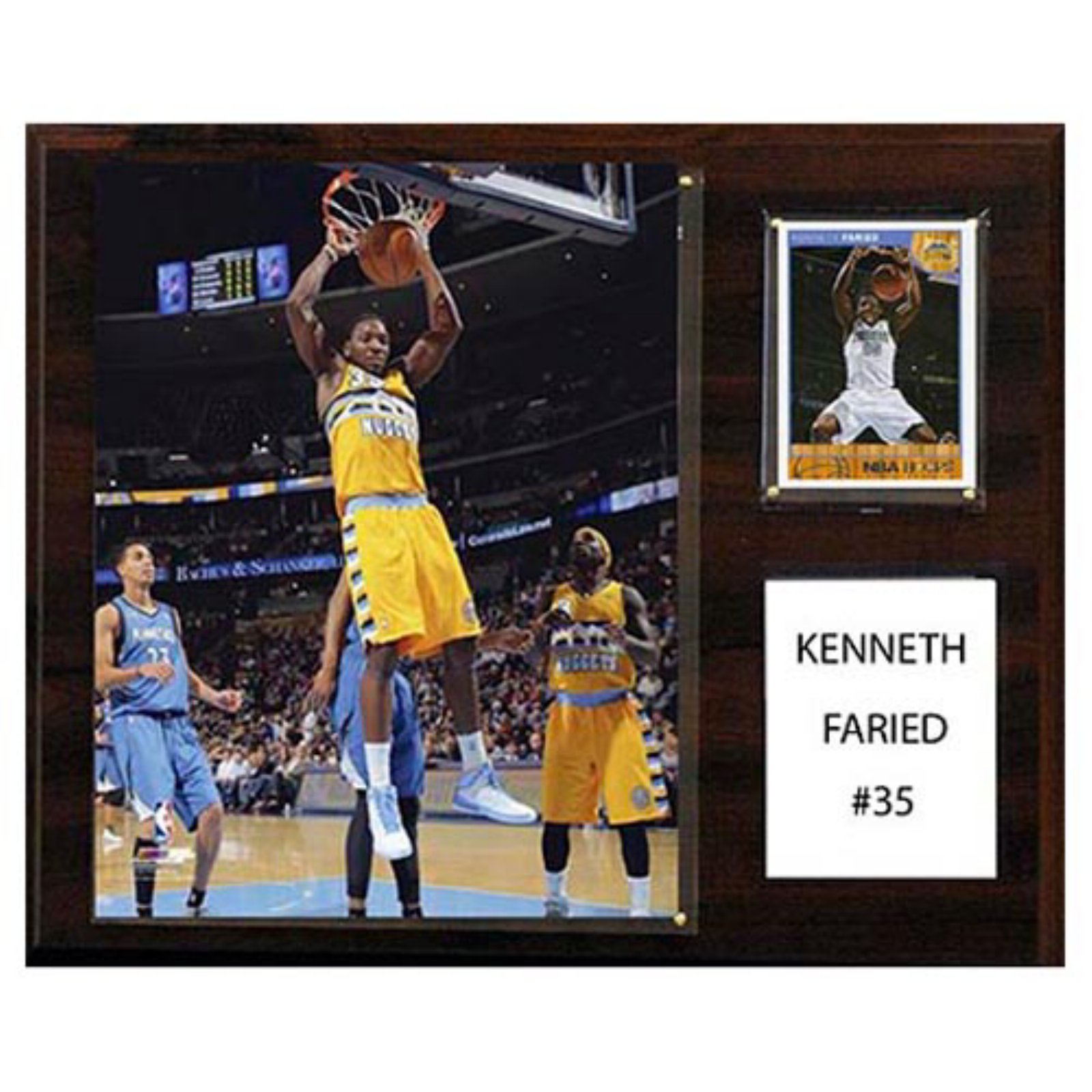 C and I Collectables NBA 15W x 12H in. Kenneth Faried Denver Nuggets Player Plaque