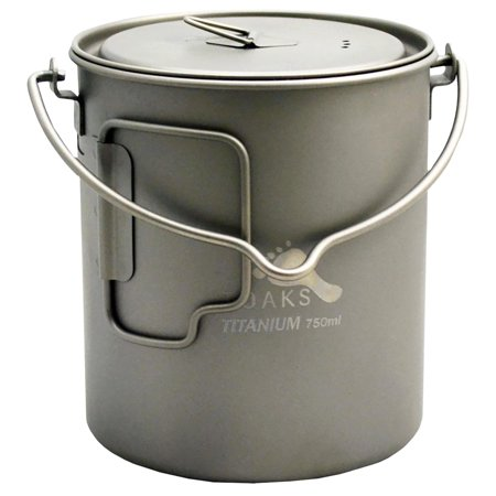 TOAKS 750ml Ultralight Titanium Camping Cook Pot with Bail Handle and Lid